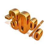 oro 3d segno di sconto di 30 per cento Fotografia Stock Libera da Diritti