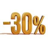 oro 3d segno di sconto di 30 per cento Fotografie Stock