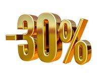 oro 3d segno di sconto di 30 per cento Immagini Stock