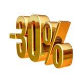 oro 3d segno di sconto di 30 per cento Immagine Stock Libera da Diritti