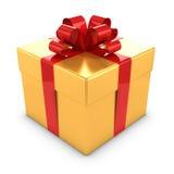oro 3d y caja de regalo roja Fotos de archivo libres de regalías