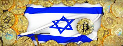 Oro de Bitcoins alrededor de la bandera de Israel y piqueta a la izquierda enfermedad 3d libre illustration