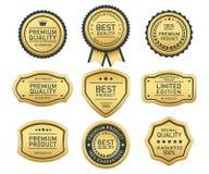 Oro de calidad superior de la etiqueta en el fondo blanco stock de ilustración