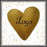Oro de la acuarela del corazón Foto de archivo libre de regalías
