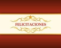 Oro de la enhorabuena y tarjeta roja stock de ilustración