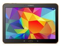 Oro de la etiqueta S de la galaxia de Samsung de la tableta Fotos de archivo