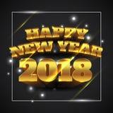 Oro 2018 de la Feliz Año Nuevo con el fondo negro - ejemplo del vector ilustración del vector