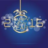 Oro de la Feliz Año Nuevo en vector azul marino Fotografía de archivo