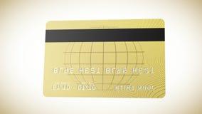 Oro de la tarjeta de crédito que muestra lados y que vuela alrededor de la tierra de oro HD 1080 ilustración del vector