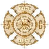 Oro de la vendimia de la cruz del cuerpo de bomberos Imagen de archivo libre de regalías