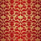 Oro de la vendimia y fondo rojo Imágenes de archivo libres de regalías