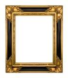 Oro de la vendimia y marco adornado negro del piano Imagen de archivo libre de regalías