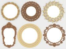 Oro de la vendimia y marcos redondos vacíos de madera Foto de archivo