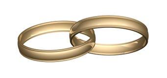 Oro de los anillos de bodas Foto de archivo