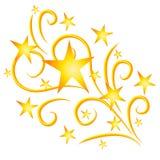 Oro de los fuegos artificiales de las estrellas fugaces ilustración del vector