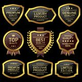 Oro de lujo de la etiqueta de la calidad y brillante negro stock de ilustración