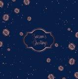 Oro de Rose y diseño azul de la tarjeta de Navidad stock de ilustración