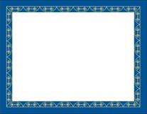 Oro decorativo y frontera azul Imágenes de archivo libres de regalías
