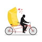 Oro del amante Lingote de oro en la bicicleta Amantes del ciclo Ro del hombre Imagen de archivo libre de regalías