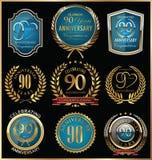 Oro del aniversario y colección de las etiquetas del azul, 90 años Imágenes de archivo libres de regalías