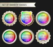 Oro del arco iris e insignia blanca en fondo negro Fotos de archivo