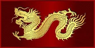 Oro del arrastre chino del dragón fotos de archivo