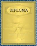 Oro del azul del diploma Fotografía de archivo libre de regalías