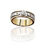 Oro del compromiso con el anillo de piedra ilustración 3D Imagen de archivo libre de regalías