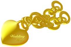 Oro del corazón de la boda Fotografía de archivo
