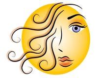 Oro del icono de la insignia del Web de la cara de la mujer libre illustration