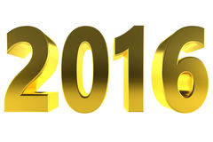 Oro 2016 del nuovo anno 3d isolato dorato Fotografia Stock
