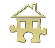 Oro del rompecabezas de la casa Imágenes de archivo libres de regalías