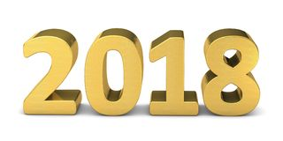 Oro del texto del Año Nuevo 2018 3D Fotos de archivo libres de regalías