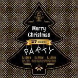 Oro dell'estratto di vettore del manifesto della festa di Natale e fondo nero Immagini Stock