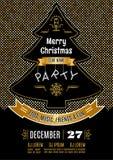 Oro dell'estratto di vettore del manifesto della festa di Natale e fondo nero Fotografia Stock