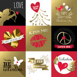 Oro dell'insieme di etichetta della carta di giorno di biglietti di S. Valentino del san retro Immagini Stock