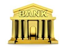 Oro della banca di configurazione su fondo bianco isolato Fotografia Stock