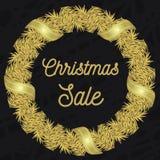 Oro della cartolina di Natale Fotografia Stock