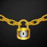 Oro della catena di serratura Fotografie Stock Libere da Diritti