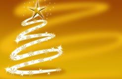 Oro della scheda dell'albero di Natale con le stelle Immagini Stock