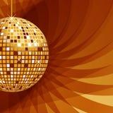 Oro della sfera della discoteca su priorità bassa astratta Fotografia Stock Libera da Diritti