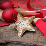 Oro della stella di Natale Fotografia Stock Libera da Diritti