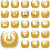 Oro determinado de los botones de los iconos del Web site brillante del asunto Fotos de archivo libres de regalías