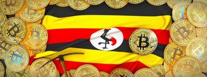 Oro di Bitcoins intorno alla bandiera ed al piccone dell'Uganda a sinistra ill 3d illustrazione vettoriale