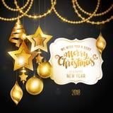 Oro di Buon Natale Immagine Stock