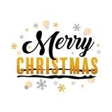 Oro di Buon Natale ed arte tipografica nera di vettore Fotografia Stock