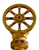 Oro di Dharmacakra su bianco Immagini Stock