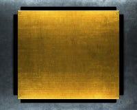Oro di Grunge di piastra metallica Immagini Stock