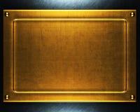 Oro di piastra metallica Fotografie Stock Libere da Diritti