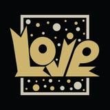 Oro di progettazione di lettera di amore che scintilla su un fondo nero Fotografie Stock Libere da Diritti